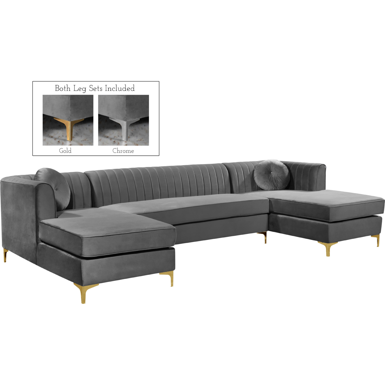 Incredible Graham Sectional Sofa W Double Chaise In Grey Velvet By Meridian Furniture Gmtry Best Dining Table And Chair Ideas Images Gmtryco