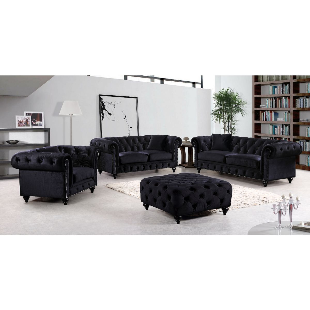 Chesterfield Tufted Black Velvet Loveseat w/ Silver Nailhead Detail by  Meridian Furniture