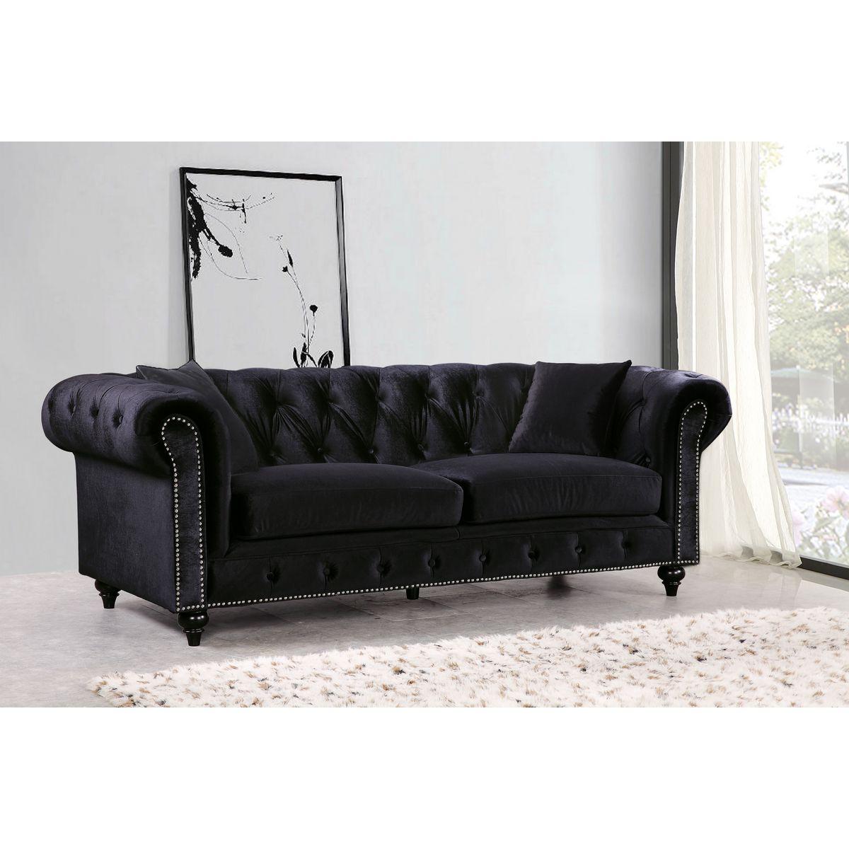 Meridian Furniture 662BL-S Chesterfield Tufted Black Velvet Sofa w ...