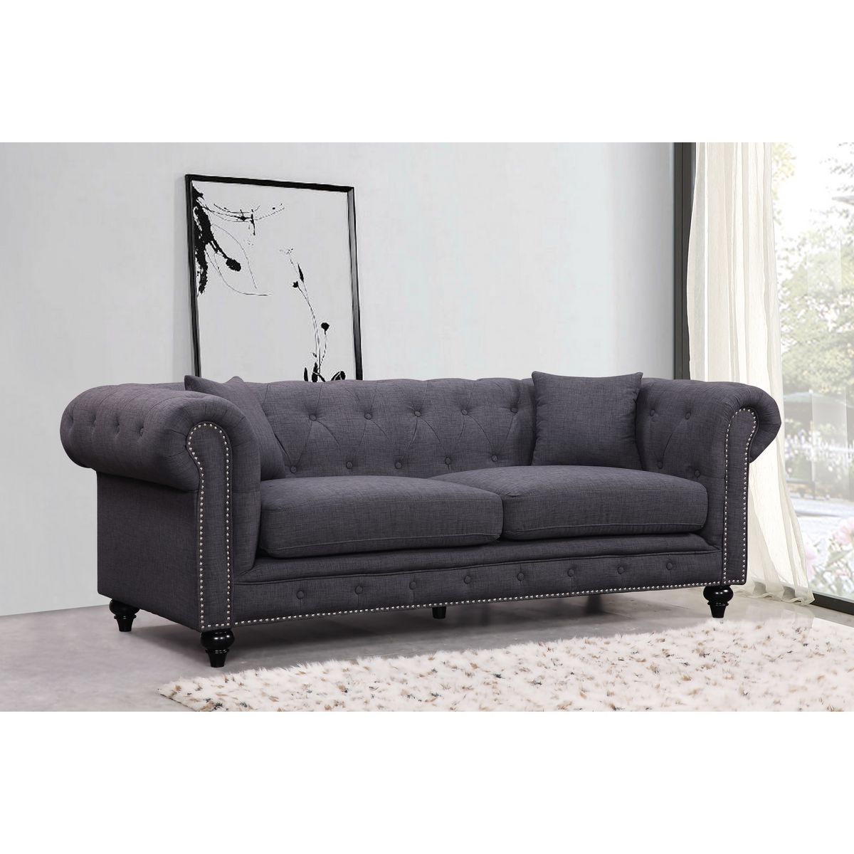 Meridian Furniture 662GRY S Chesterfield Tufted Grey Linen Sofa W/ Silver  Nailhead Detail