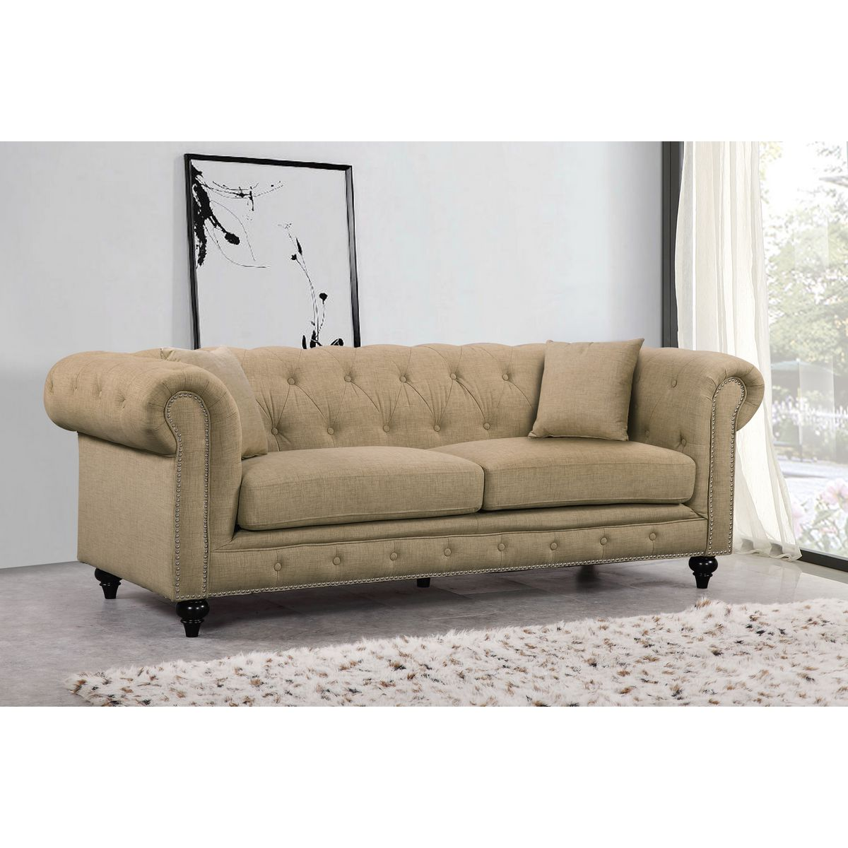 Meridian Furniture 662sand S Chesterfield Tufted Sand