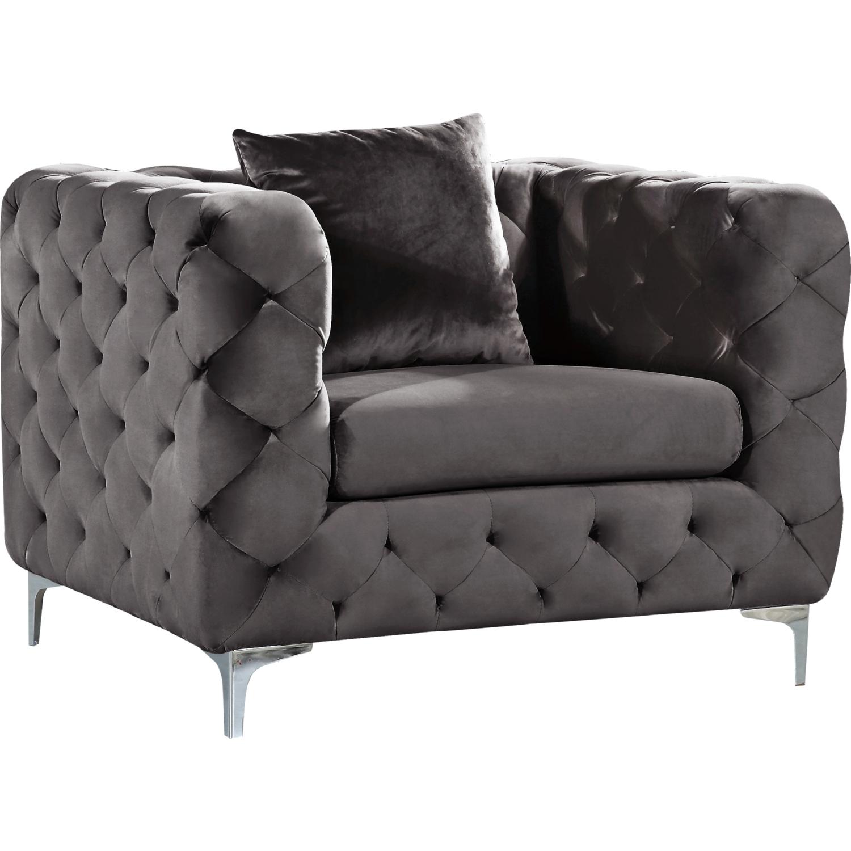 Awe Inspiring Scarlett Accent Chair In Tufted Grey Velvet On Chrome Legs By Meridian Furniture Cjindustries Chair Design For Home Cjindustriesco