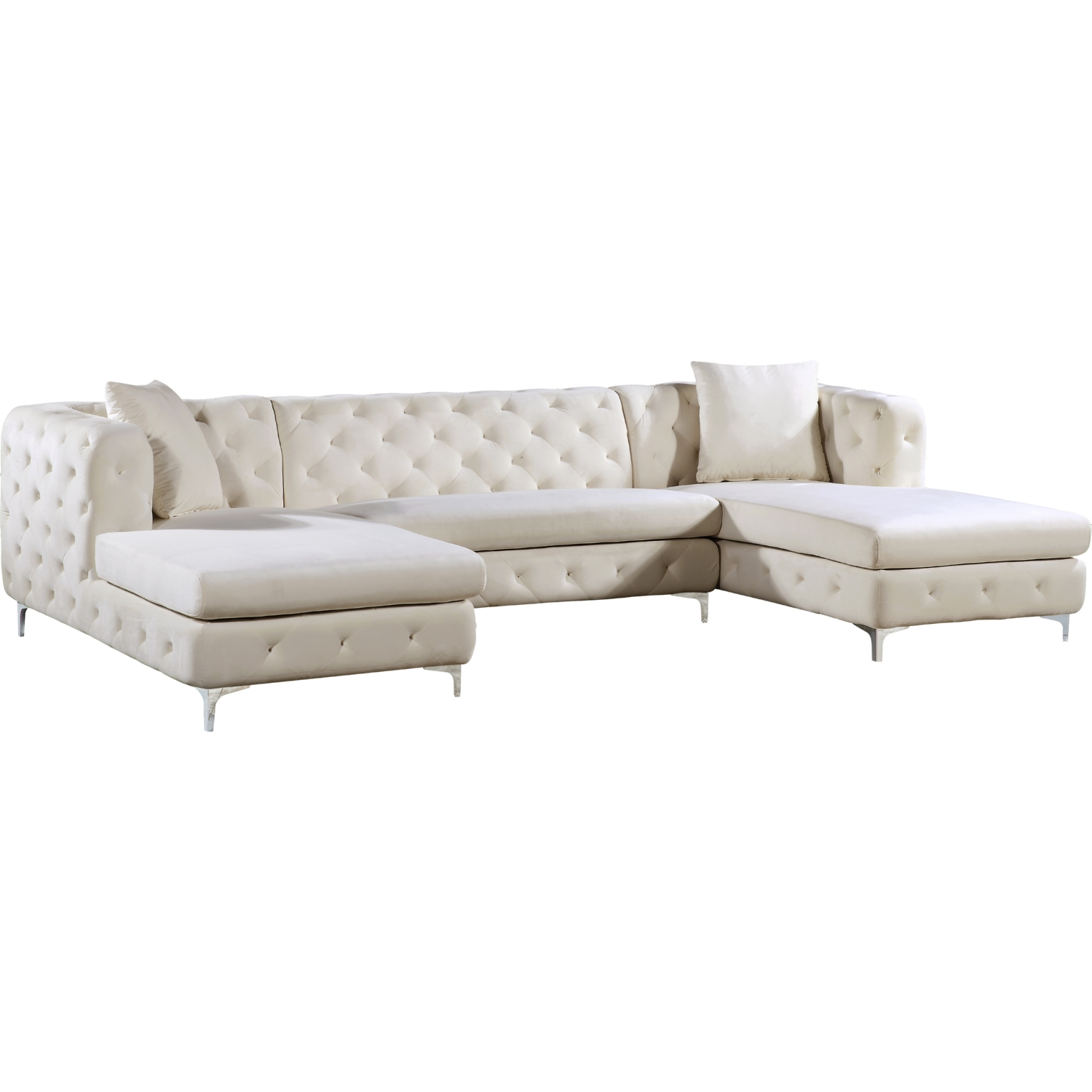 Meridian 664Cream-Sectional Gail 3 Piece Double Chaise ...
