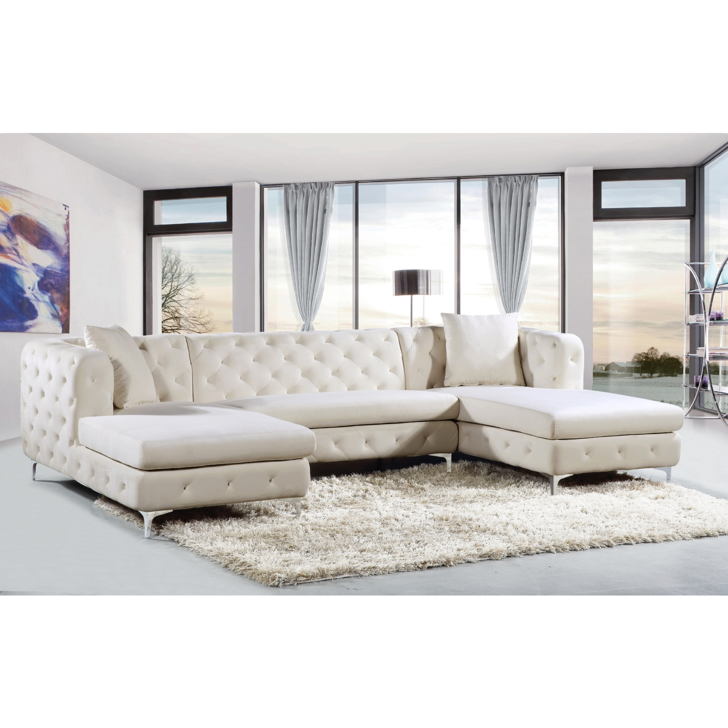 Meridian Furniture Gail 3 Piece Double Chaise Sectional in Tufted Cream  Velvet