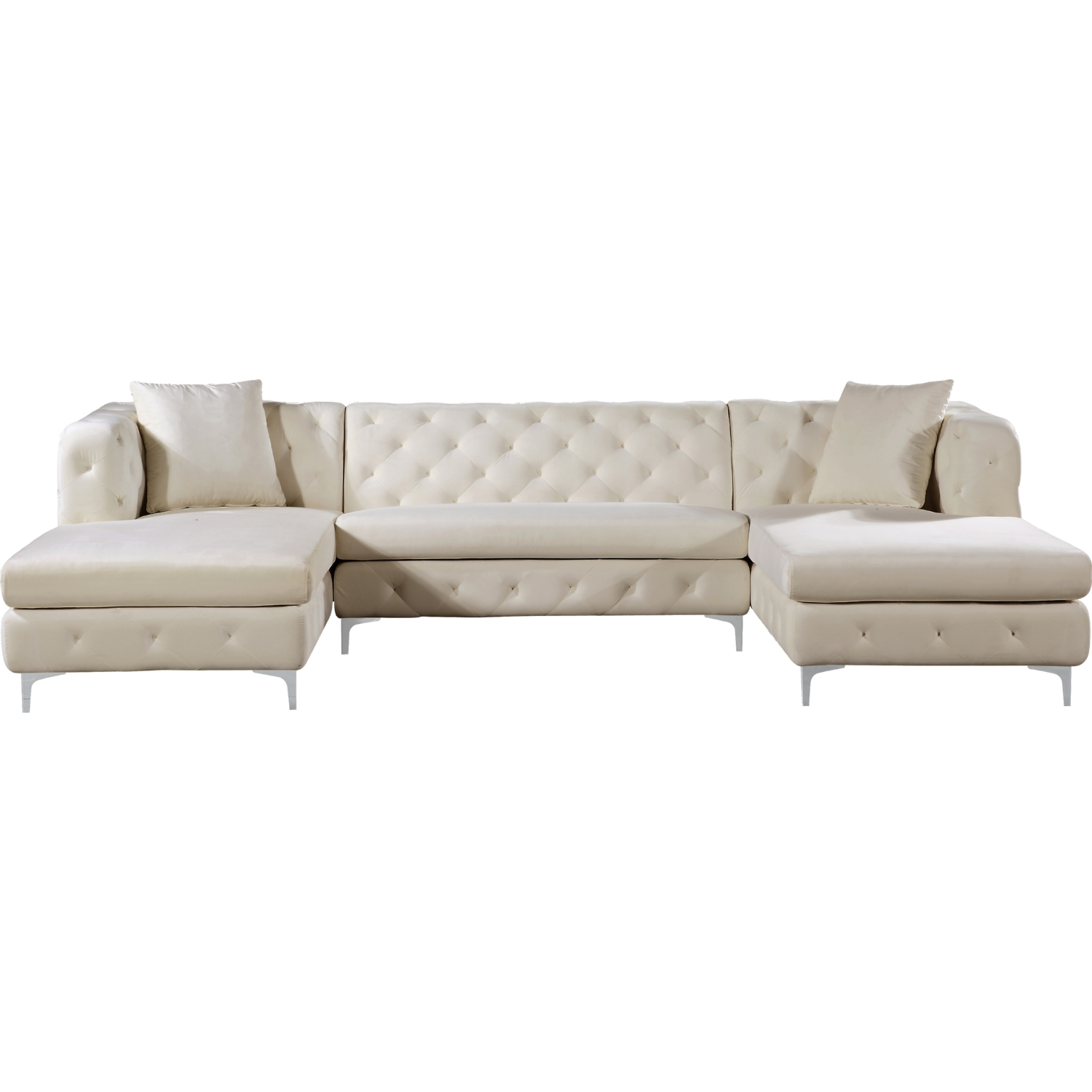 Gail 3 Piece Double Chaise Sectional In Tufted Cream Velvet