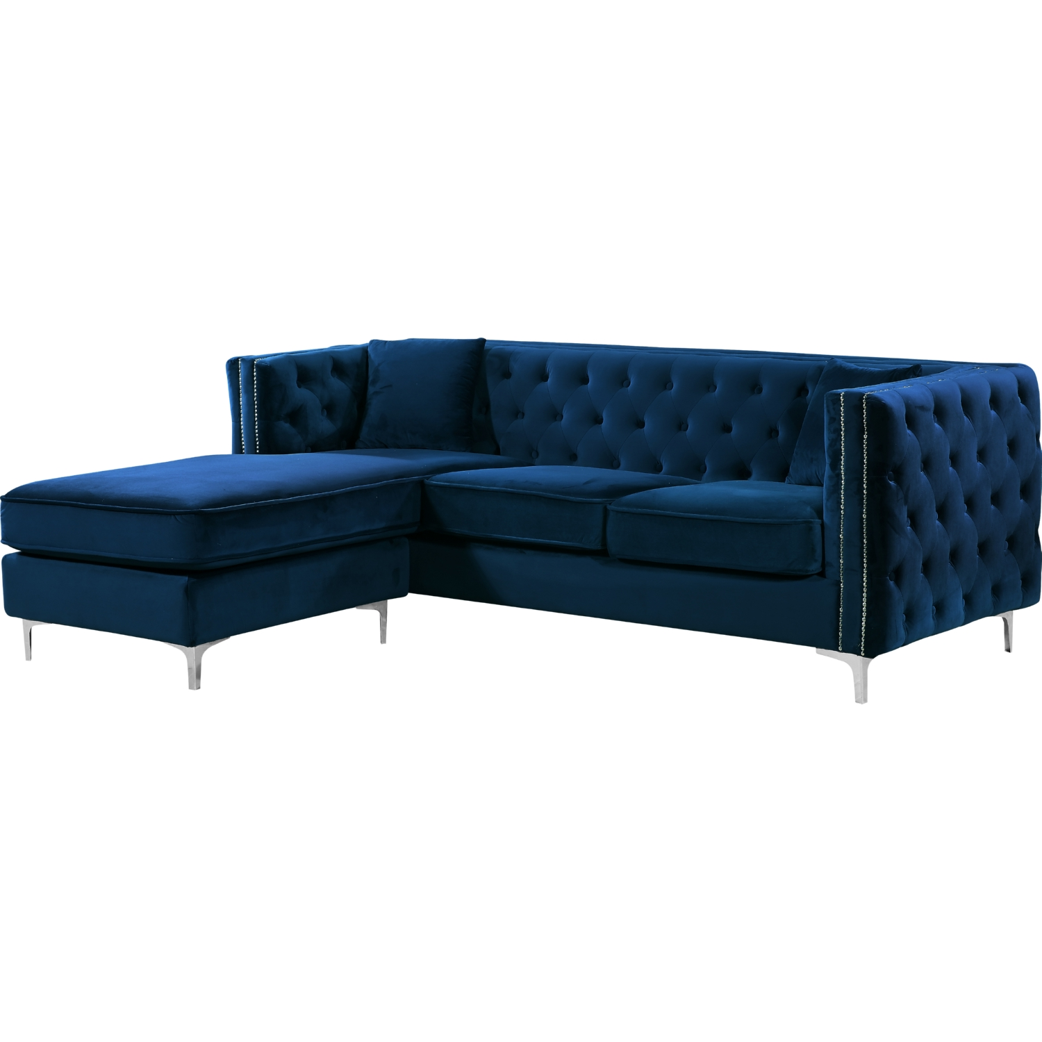 Jesse 2 Piece Sectional Sofa W Reversible Chaise In Tufted Navy Velvet By Meridian Furniture