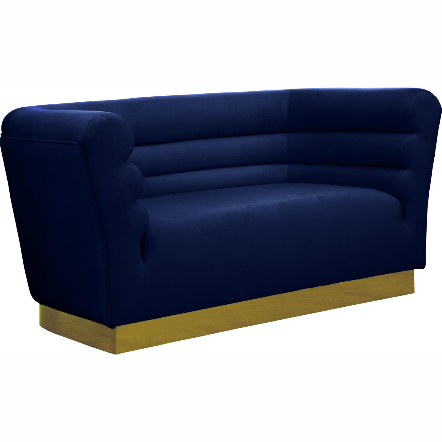 Surprising Bellini Loveseat In Navy Blue Velvet Gold Stainless Steel By Meridian Furniture Squirreltailoven Fun Painted Chair Ideas Images Squirreltailovenorg