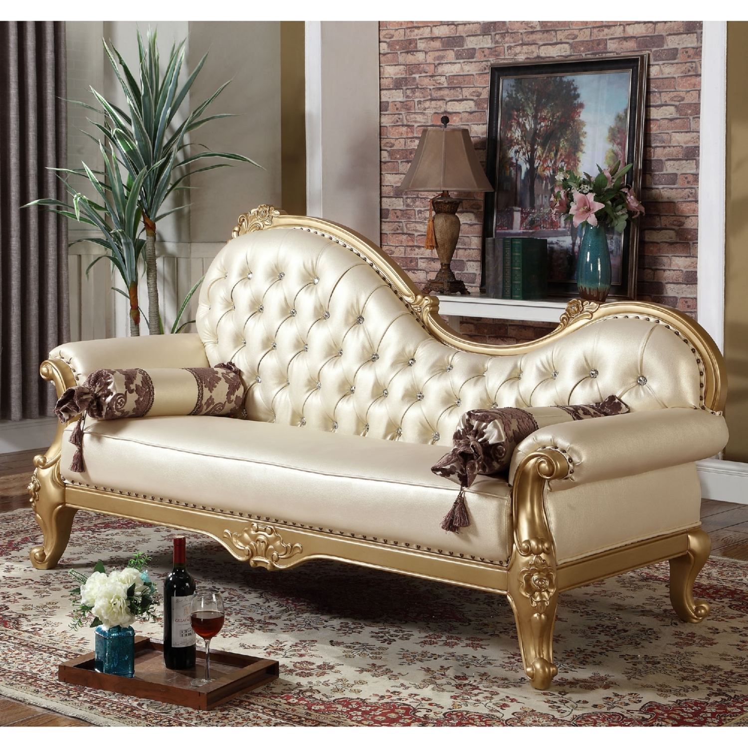 Nice Meridian Furniture 676 CH Bennito Pearl Tufted Leather Chaise On Ornate  Gold Frame