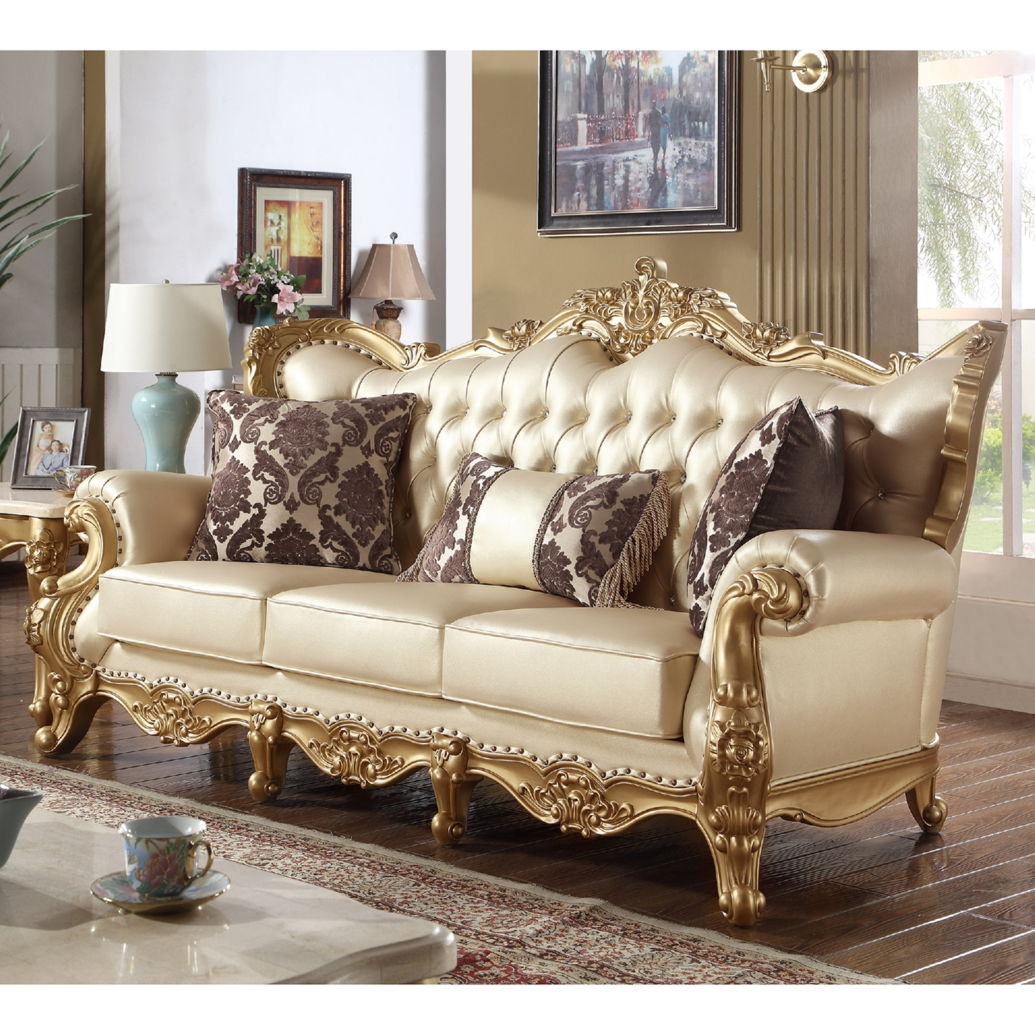 Amazing Gold Leather Sofa Home And Textiles Creativecarmelina Interior Chair Design Creativecarmelinacom