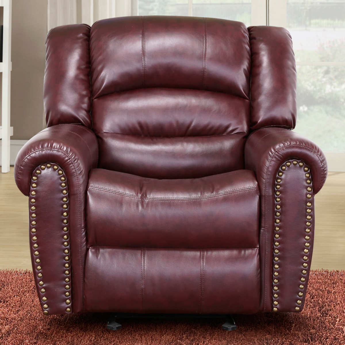 chelsea burgundy leather rocker recliner w nailhead detail - Leather Rocker Recliner