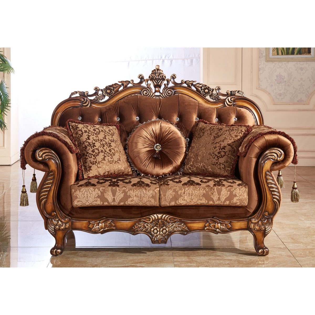 Meridian Furniture 692 L Napoli Loveseat In Crystal Tufted Fabric On Cherry  Frame W/ Ornate Carving