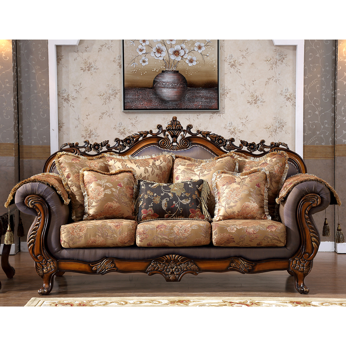 Tremendous Meridian Furniture Seville Sofa In Fabric On Cherry Frame W Ornate Carving Creativecarmelina Interior Chair Design Creativecarmelinacom