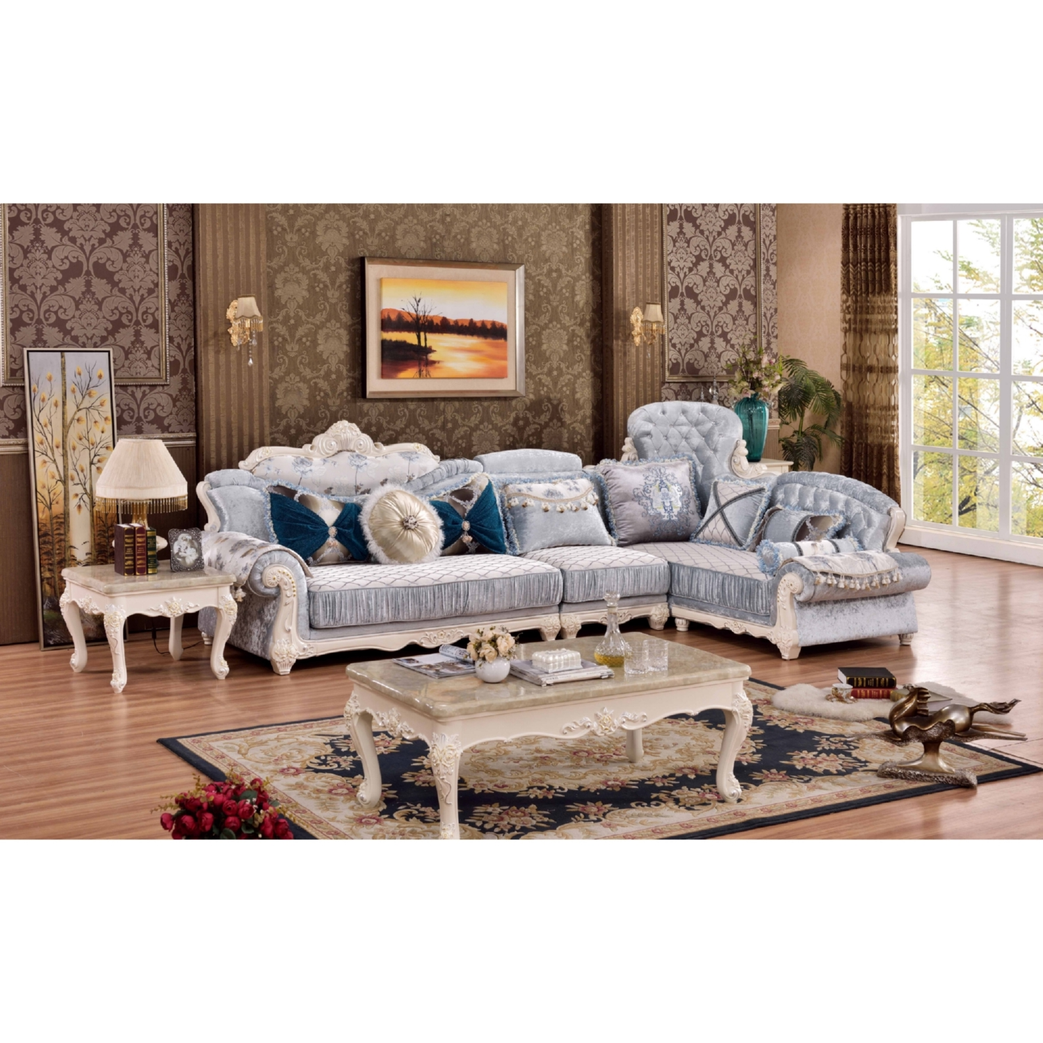 Meridian Furniture 694 Sectional Fabia 3 Piece Sectional Sofa in