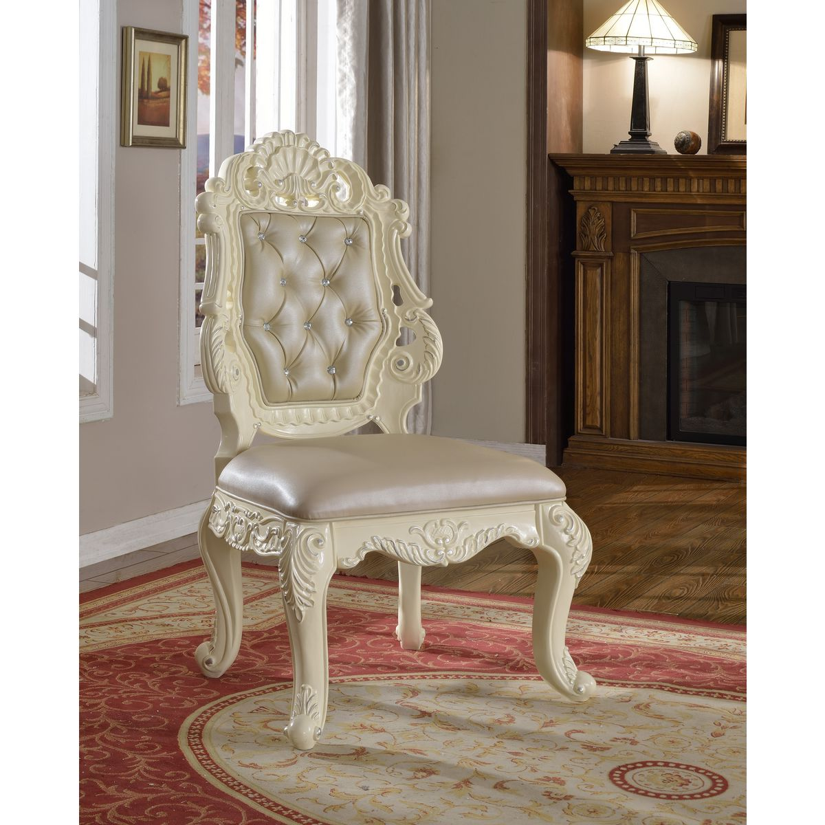 Tufted leather dining chairs - Madrid Side Dining Chair In Crystal Tufted Leather On Ornate Pearl White Frame Set Of 2