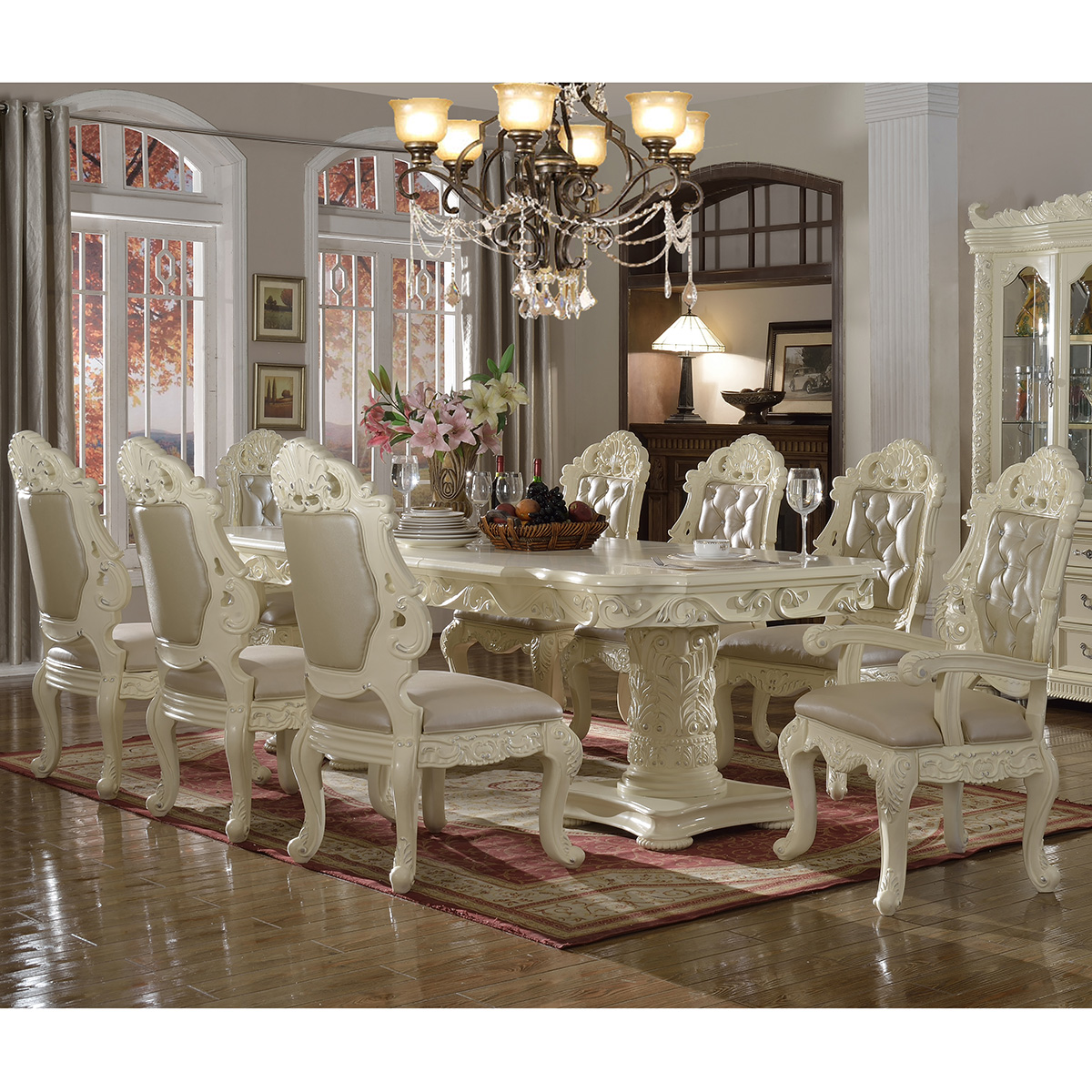 Meridian Furniture Madrid 10 Piece Dining Set In Pearl White W/ Ornate  Carving U0026 Crystal Tufted Leather