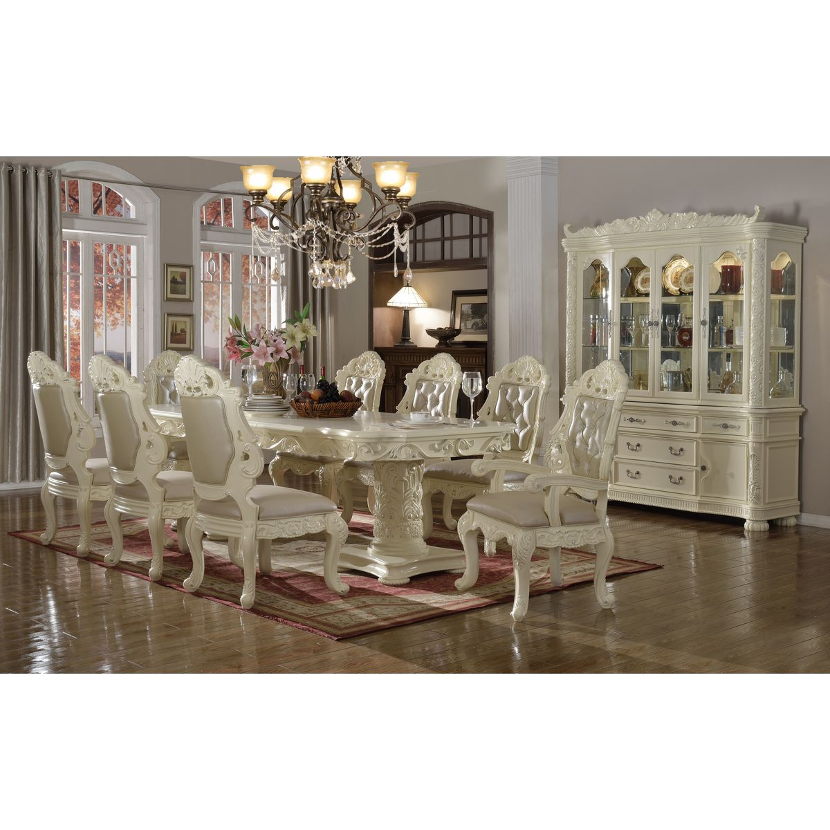 Madrid 10 Piece Dining Set In Pearl White W/ Ornate Carving U0026 Crystal  Tufted Leather