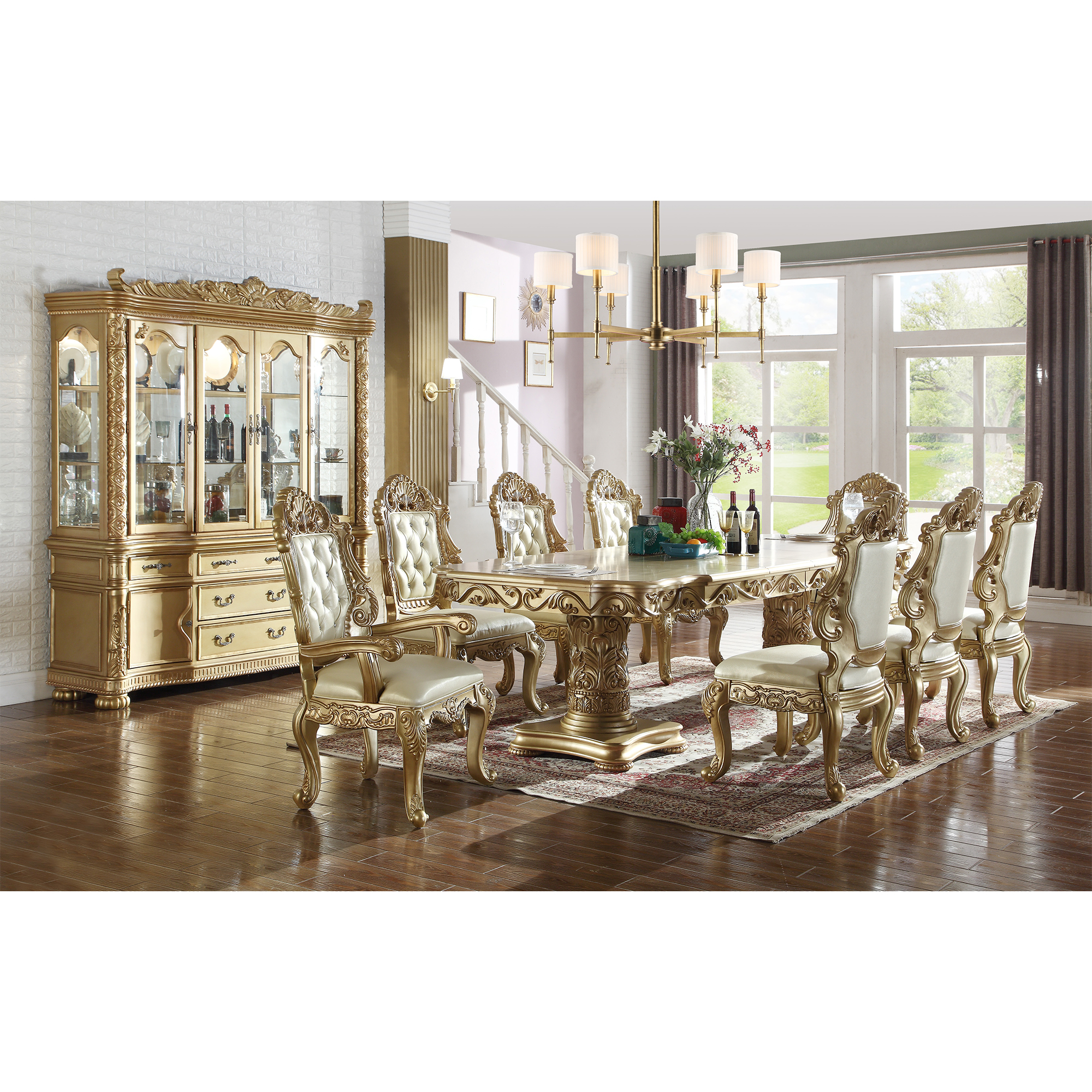 meridian furniture 703-10pc-set bennito 10 piece dining set in