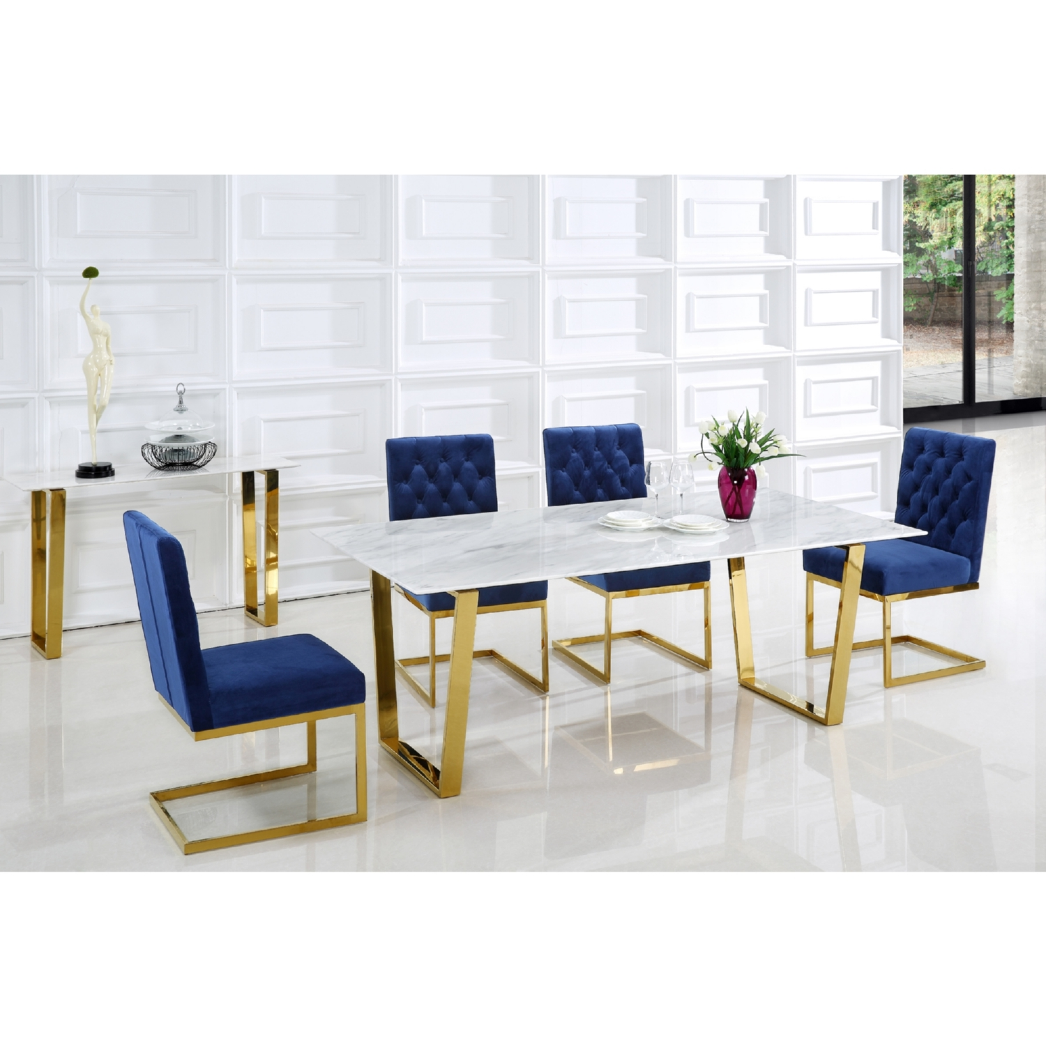 "Meridian Furniture 712 T Cameron 78"" Gold Stainless Steel Dining"