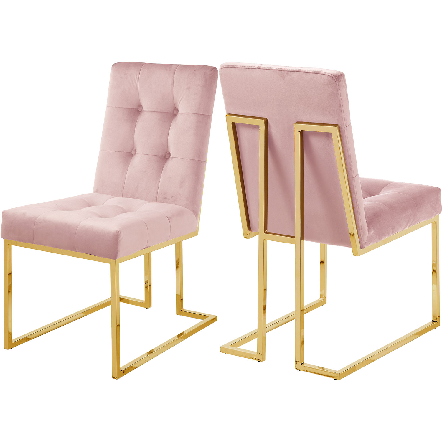 Enjoyable Pierre Dining Chair In Tufted Pink Velvet On Gold Stainless Steel Set Of 2 By Meridian Furniture Uwap Interior Chair Design Uwaporg