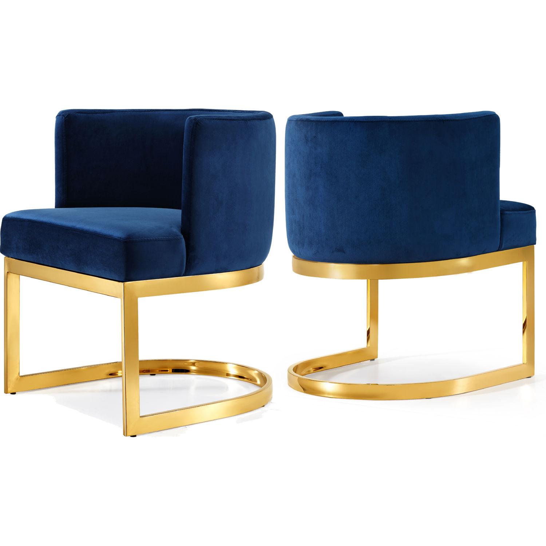 Meridian 718navy C Gianna Dining Chair In Navy Blue Velvet