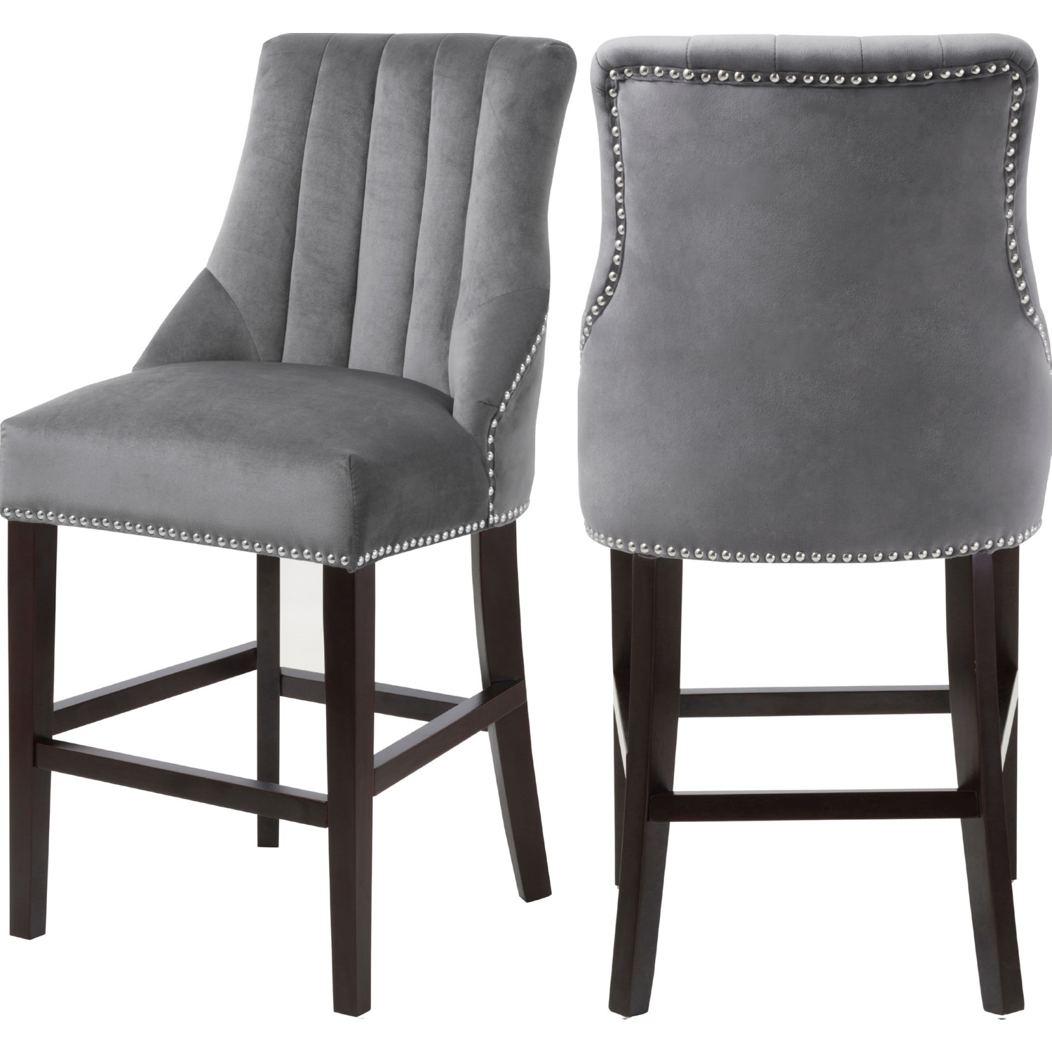 Amazing Oxford Counter Stool In Channel Tufted Grey Velvet Set Of 2 By Meridian Furniture Ibusinesslaw Wood Chair Design Ideas Ibusinesslaworg