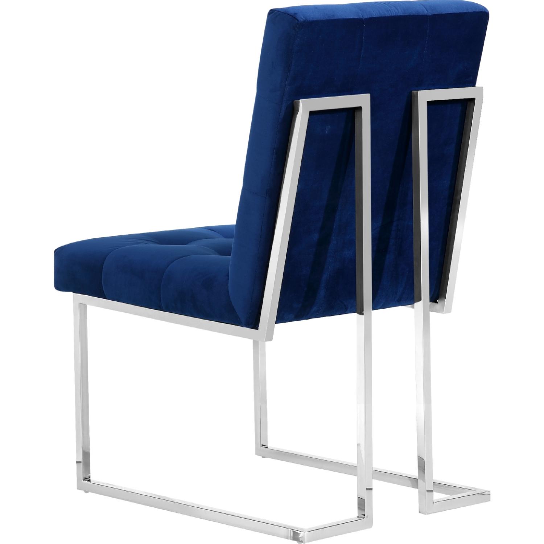alexis tufted navy velvet dining chair on geometric chrome frame set of 2