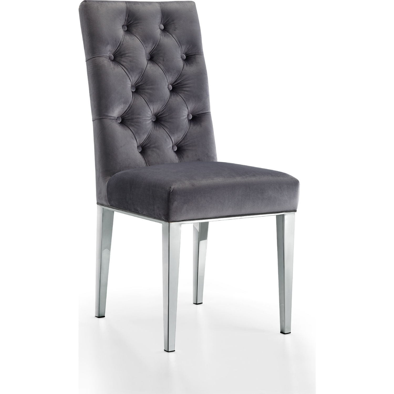 Meridian Furniture 732grey C Juno Dining Chair In Tufted Grey Velvet On Chrome Steel Legs Set Of 2