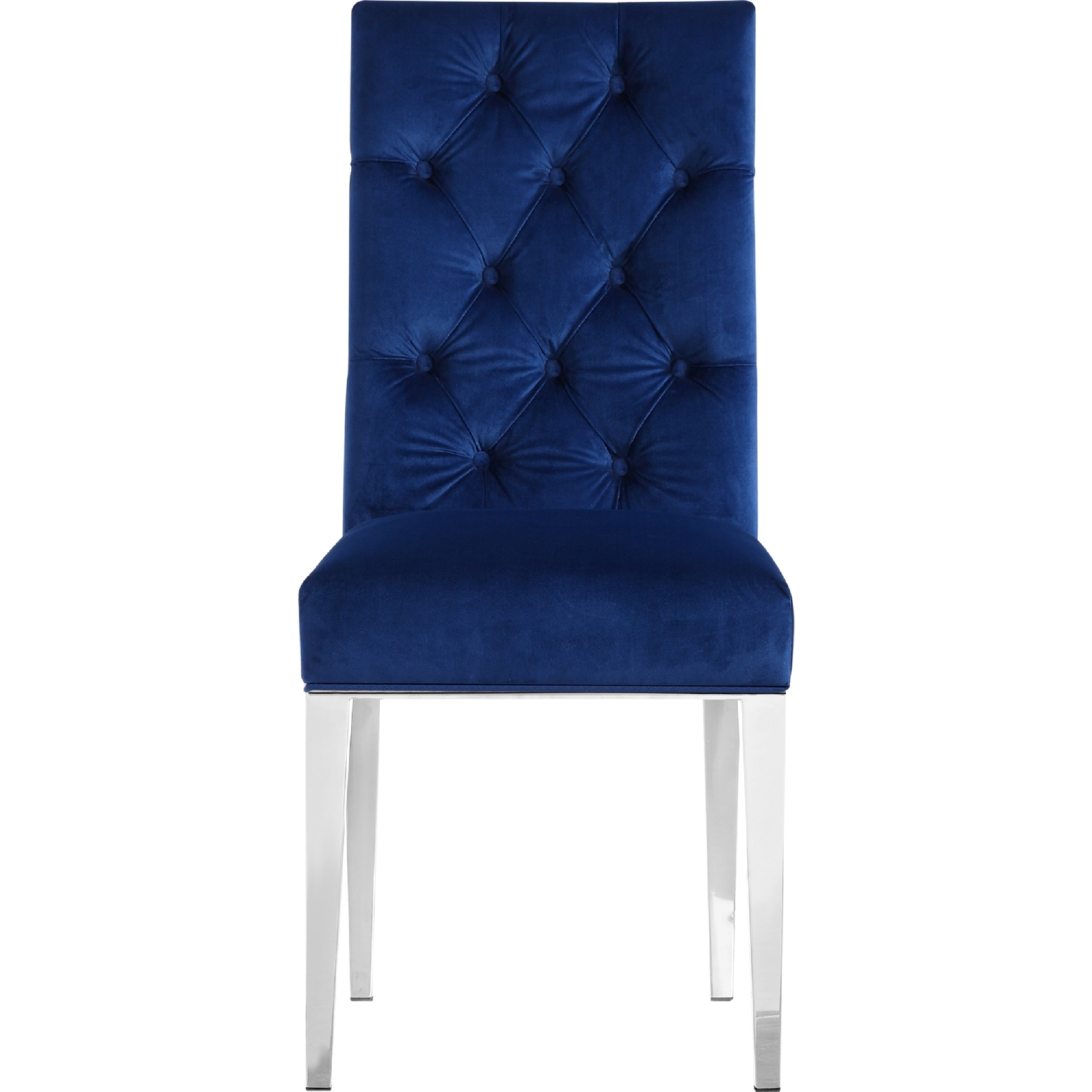 Meridian Furniture 732Navy C Juno Navy Tufted Velvet Dining Chair