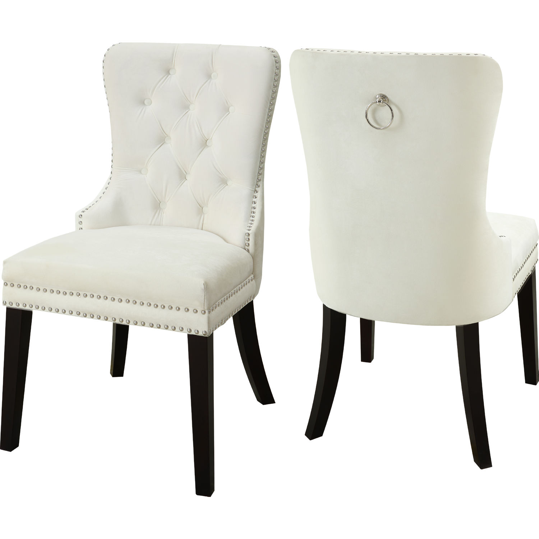 Super Nikki Dining Chair In Tufted Cream Velvet W Nailhead Trim Set Of 2 By Meridian Furniture Creativecarmelina Interior Chair Design Creativecarmelinacom