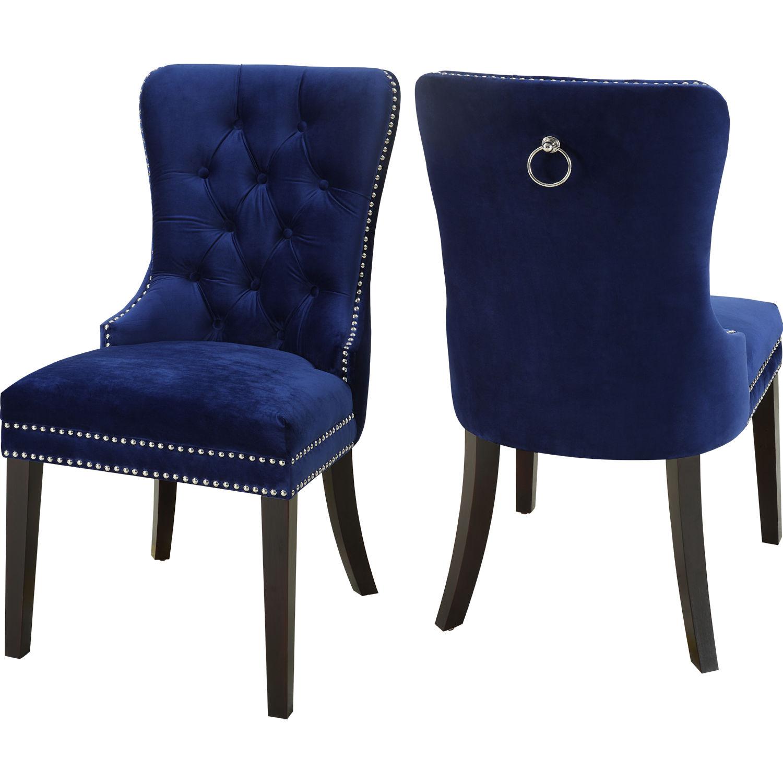 Nikki Dining Chair In Tufted Navy Blue Velvet W Nailhead Trim Set Of 2 By Meridian Furniture