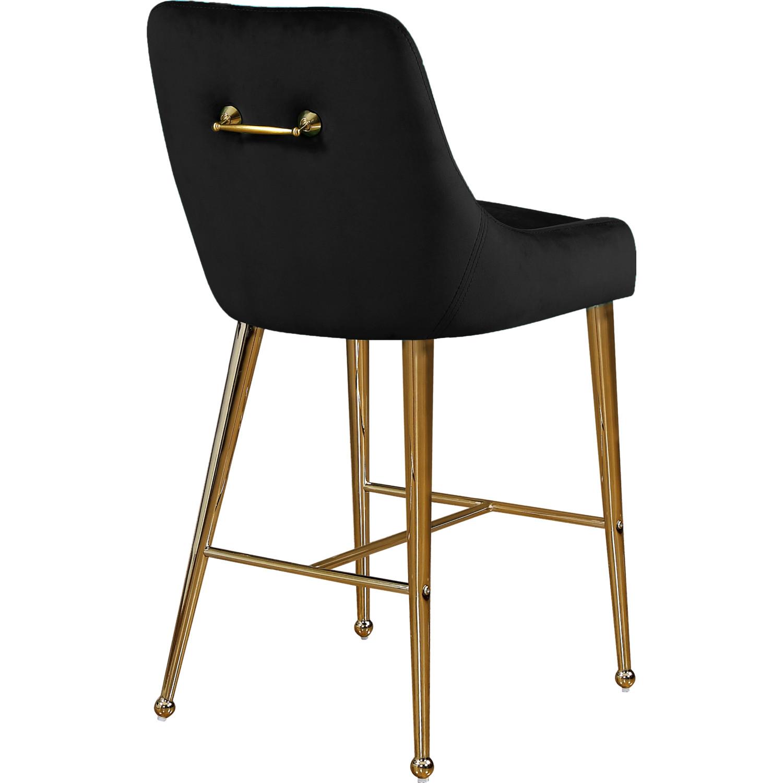 Marvelous Owen Counter Stool In Black Velvet On Polished Gold Legs Set Of 2 By Meridian Furniture Lamtechconsult Wood Chair Design Ideas Lamtechconsultcom