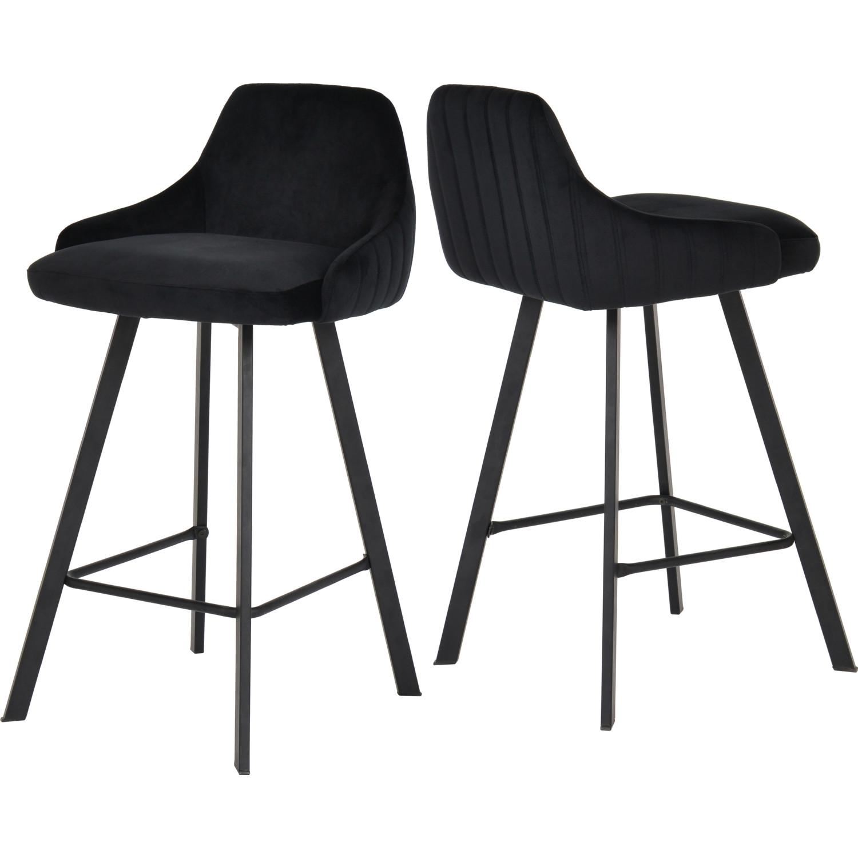 Groovy Viviene Counter Stool In Black Velvet On Black Legs Set Of 2 By Meridian Furniture Uwap Interior Chair Design Uwaporg