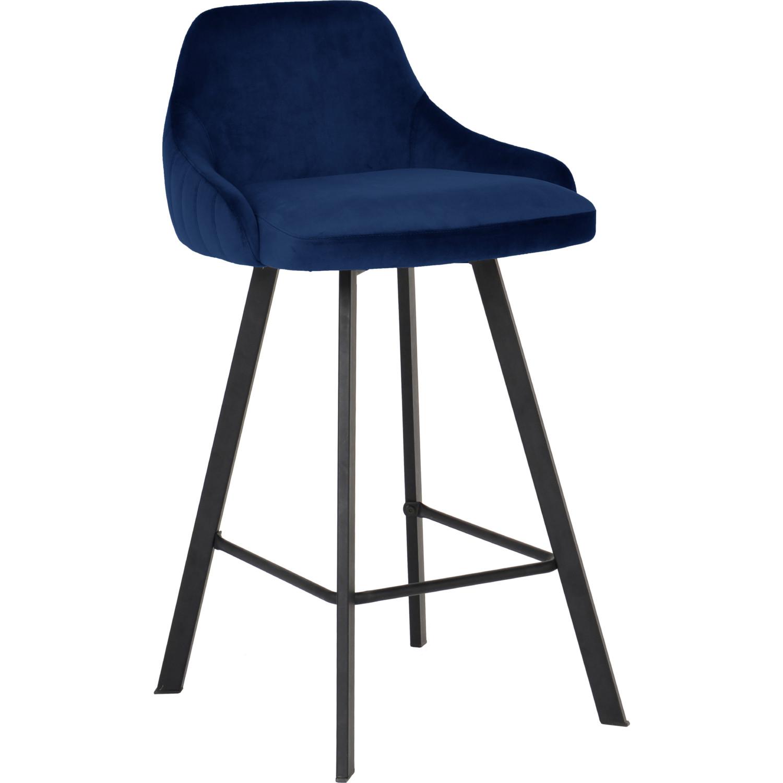 Enjoyable Viviene Counter Stool In Navy Blue Velvet On Black Legs Set Of 2 By Meridian Furniture Uwap Interior Chair Design Uwaporg