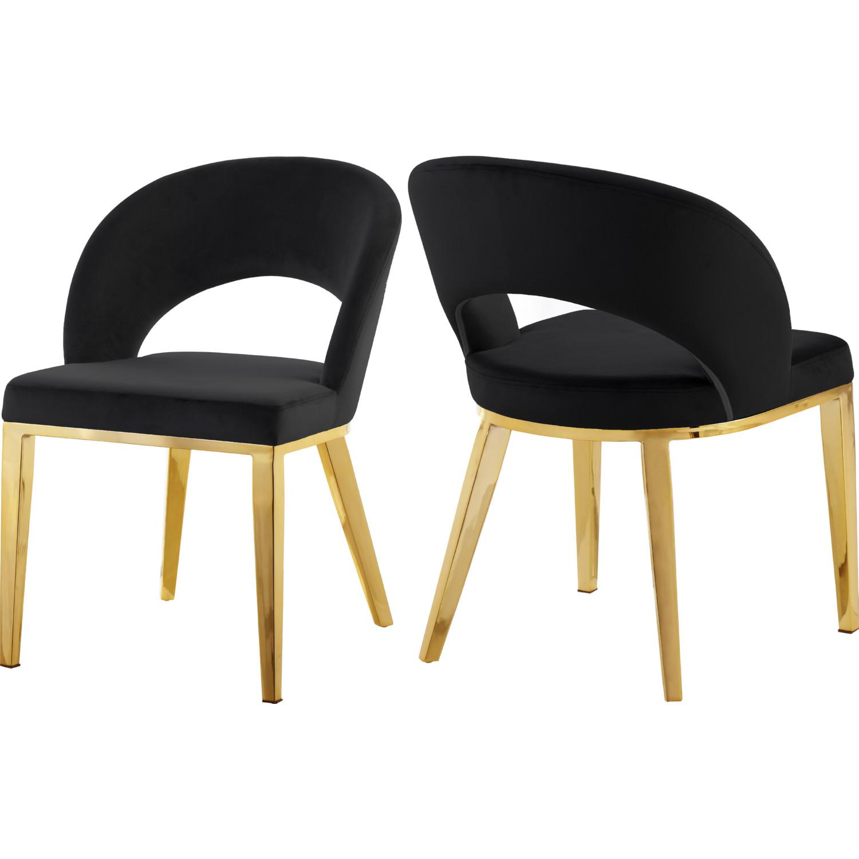 Picture of: Meridian 765black C Roberto Dining Chair In Black Velvet On Gold Legs