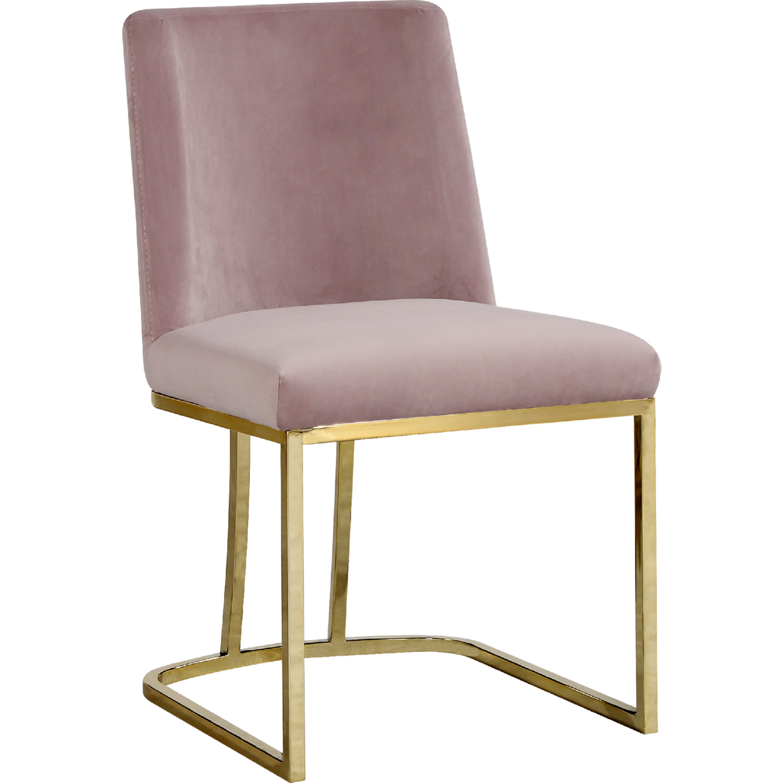 Meridian 776pink C Heidi Dining Chair In Pink Velvet On Gold Base