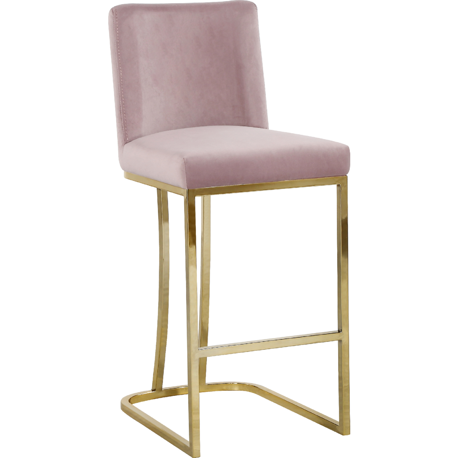 Cool Heidi Counter Stool In Pink Velvet On Gold Base By Meridian Furniture Machost Co Dining Chair Design Ideas Machostcouk