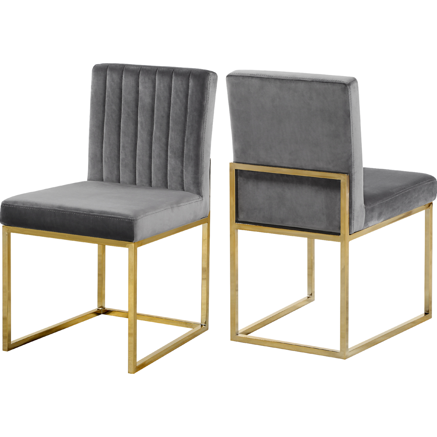 Giselle Dining Chair In Channel Tufted Grey Velvet Gold Set Of 2 By Meridian Furniture