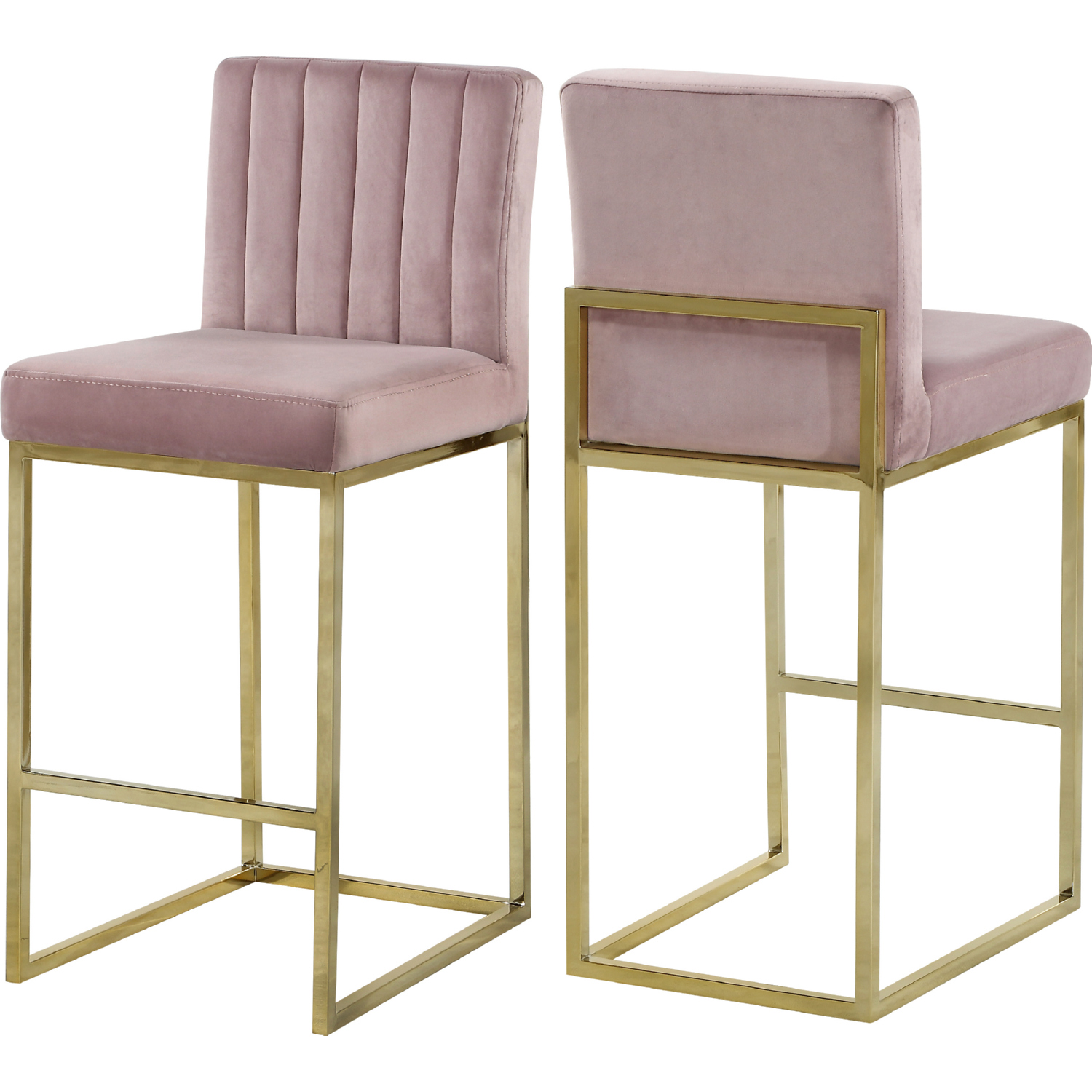 watch 2c937 49117 Giselle Counter Stool in Channel Tufted Pink Velvet on Gold by Meridian  Furniture