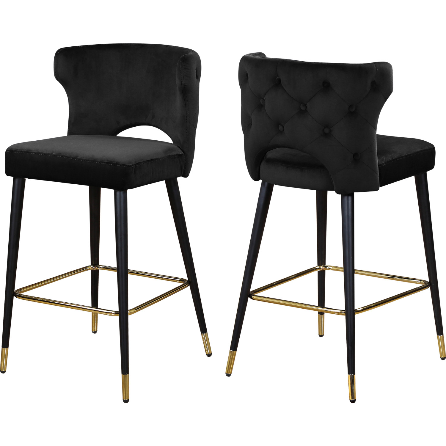 Terrific Kelly Bar Or Counter Stool In Black Velvet W Tufted Back Set Of 2 By Meridian Furniture Lamtechconsult Wood Chair Design Ideas Lamtechconsultcom