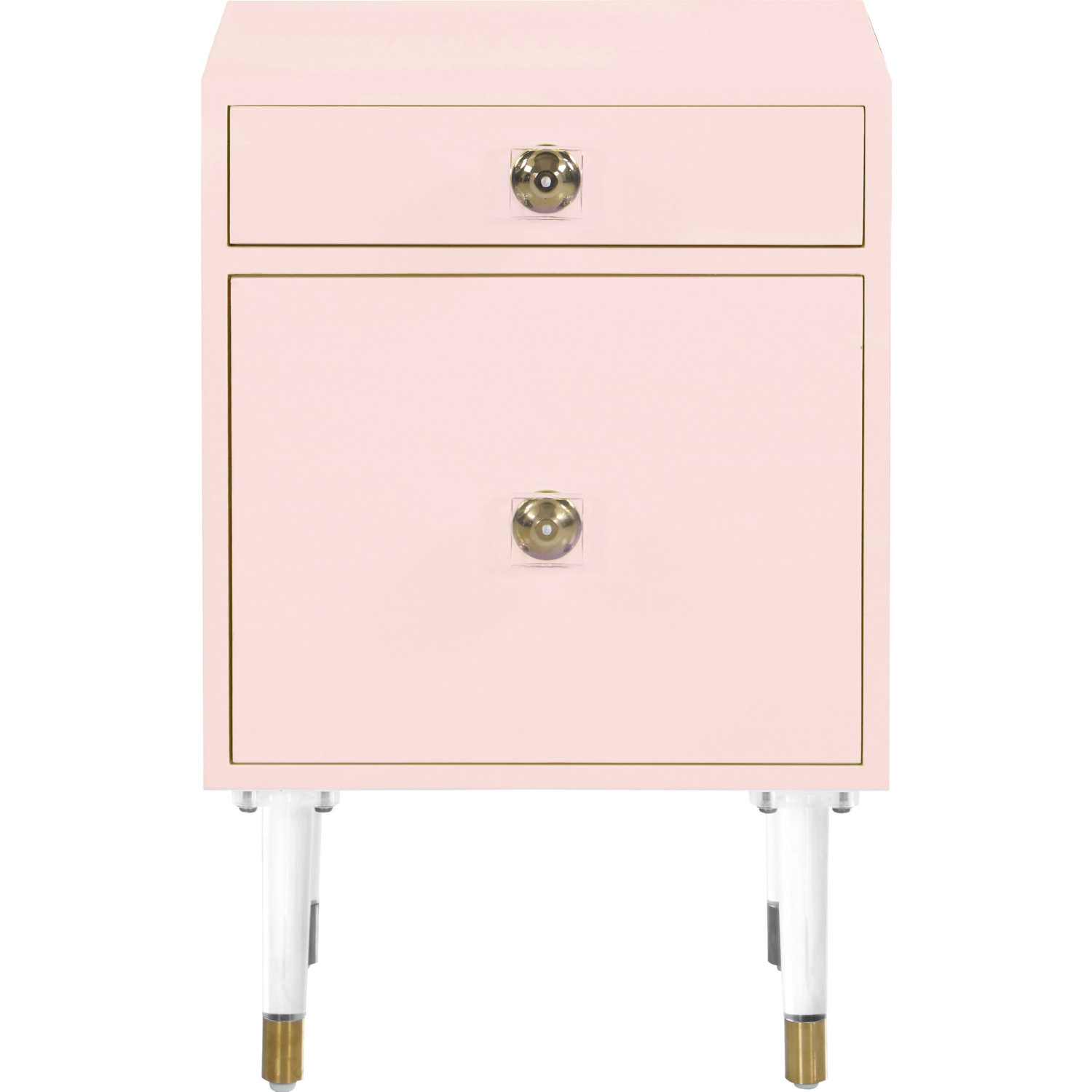 Lia Side Table In Pink On Acrylic Legs By Meridian Furniture