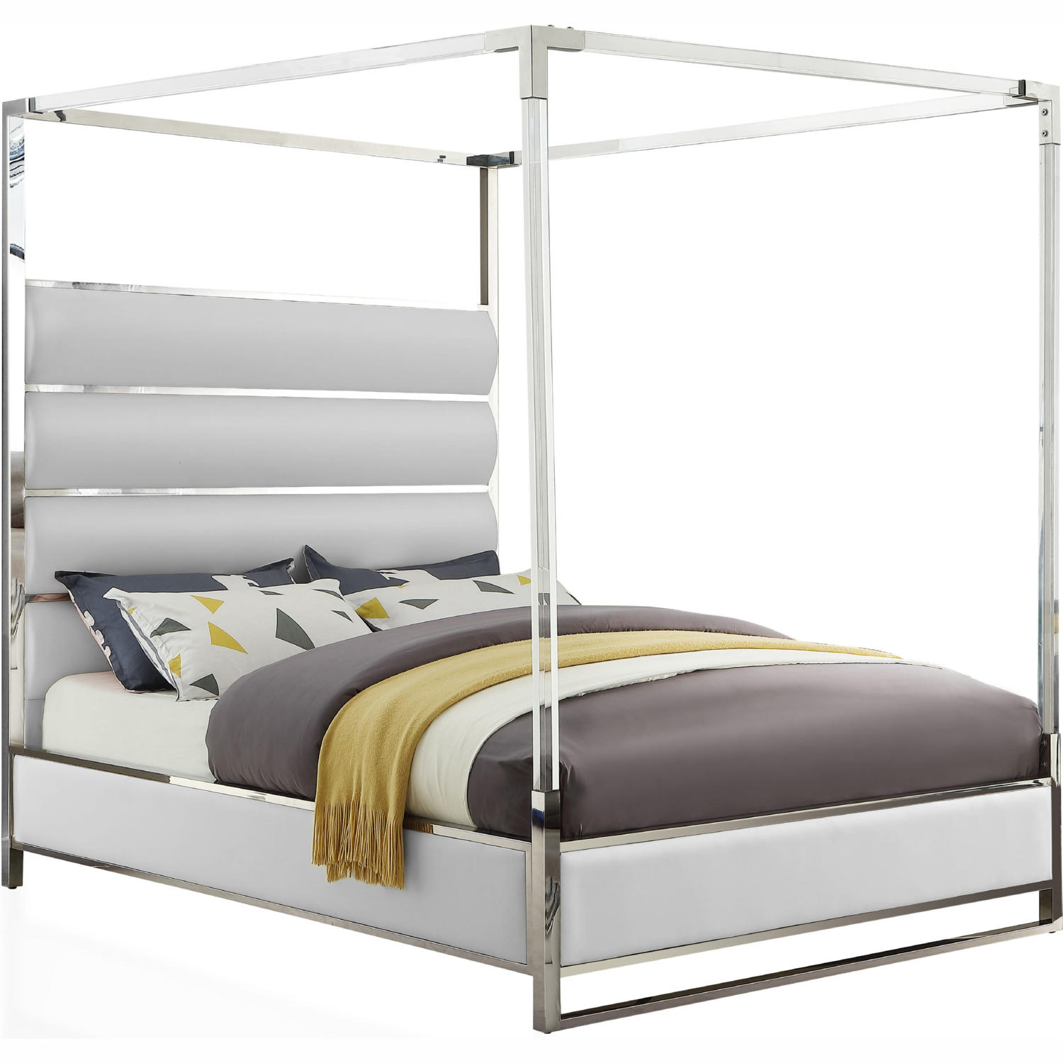 - Meridian EncoreWhite-Q Encore Canopy Queen Bed In White