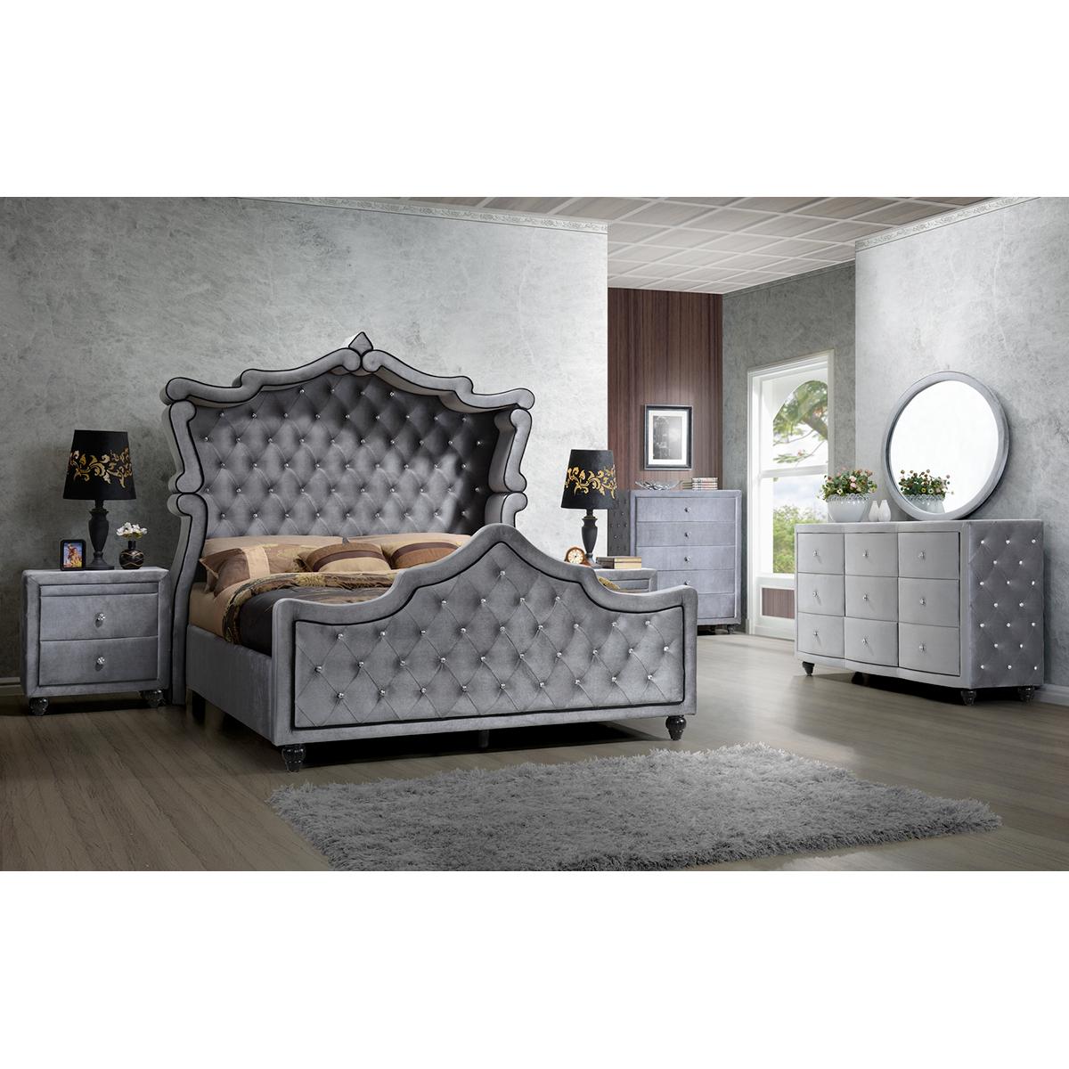 Meridian Furniture Hudson Canopy K Grey Velvet King