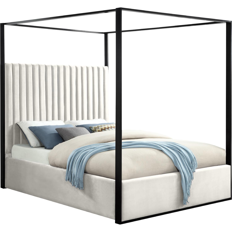 Jax Queen Canopy Bed In Cream Velvet