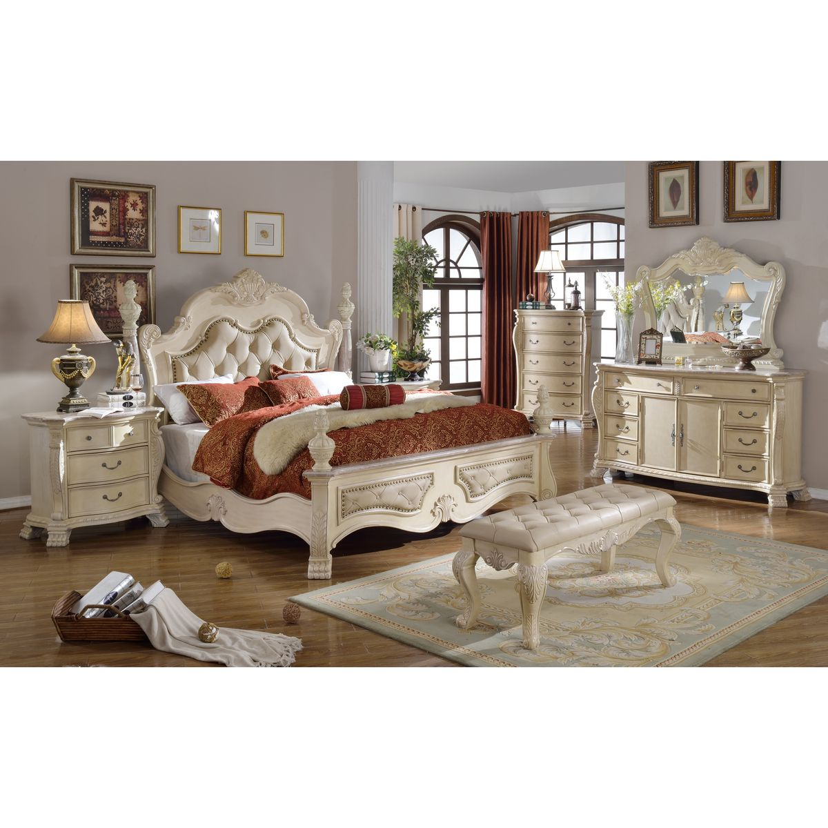 Meridian Furniture MonacoD Monaco Antique White Dresser w Ornate