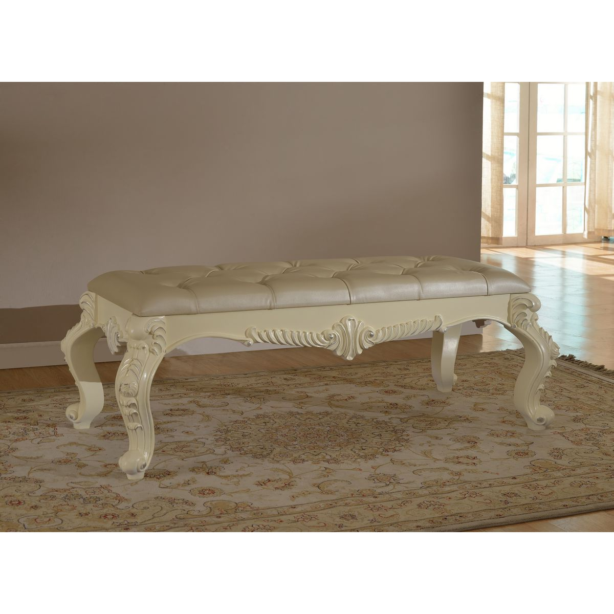 White Tufted Bench Coaster White Faux Leather Bench Chrome Legs Tufted Bench Medium Size