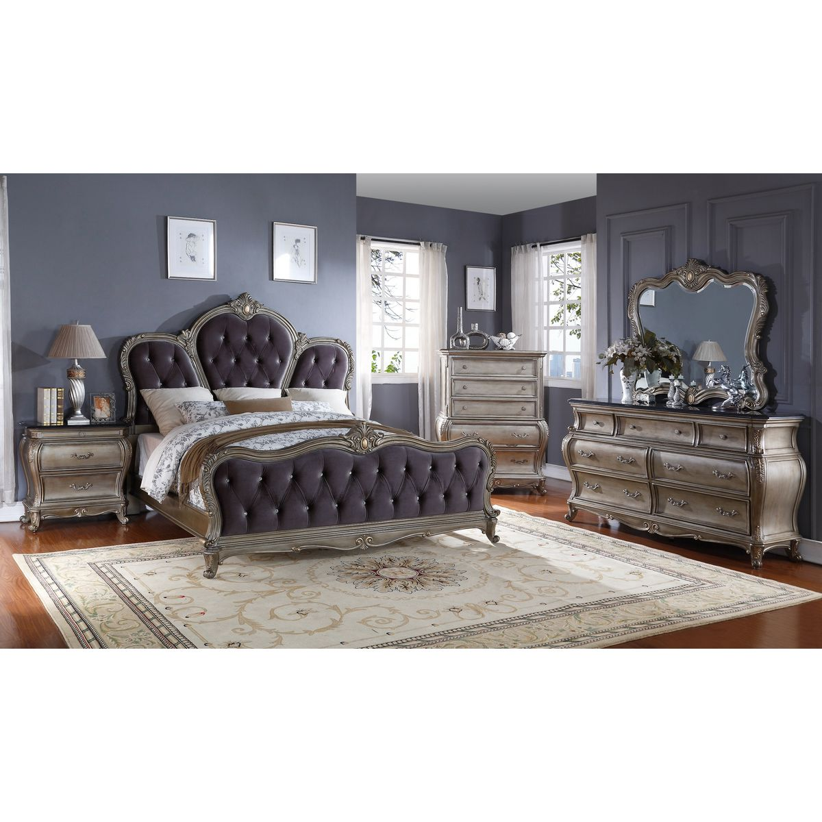 Meridian Furniture Roma Antique Silver Queen Bed w/ French Provincial  Carving & Crystal Tufted Grey Velvet - Meridian Furniture Roma-Q Roma Antique Silver Queen Bed W/ French