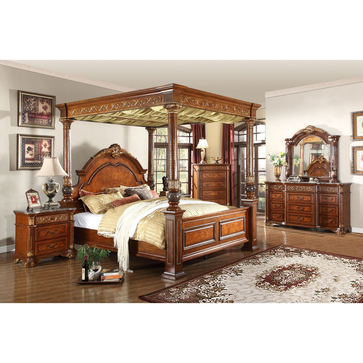 Meridian Furniture Royal Cherry Queen Canopy Bed W Ornate Carvings Marble Detail On Posts