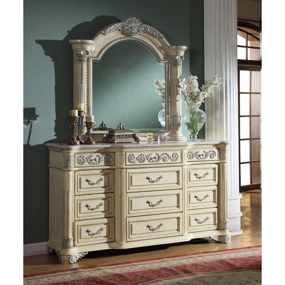 Meridian Furniture Sienna D Sienna Antique White Dresser W/ Ornate Carvings  U0026 Marble Top