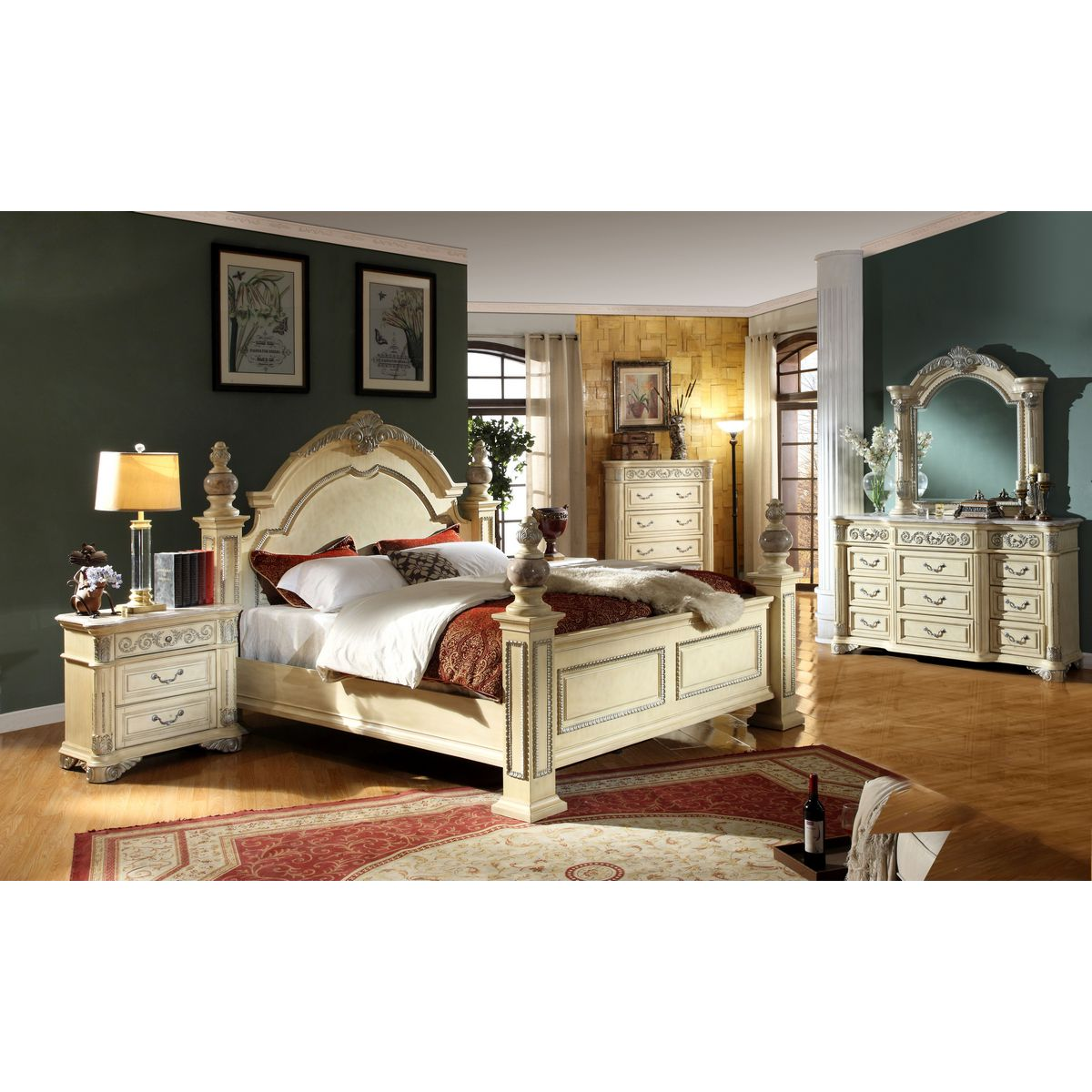Meridian Furniture Sienna-D Sienna Antique White Dresser w/ Ornate ...