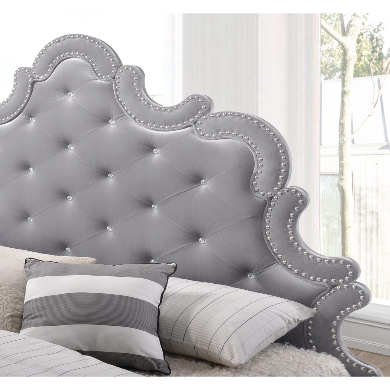 Meridian Furniture Sophie K Sophie Grey Velvet King Bed w Silver
